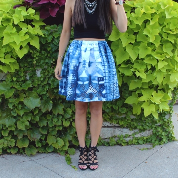 Shibori dyed and laser cut skirt