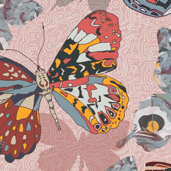 Butterfly repeat pattern - Detail