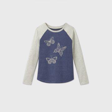 Girls' Butterfly Glitter Graphic Baseball T-Shirt - Cat & Jack