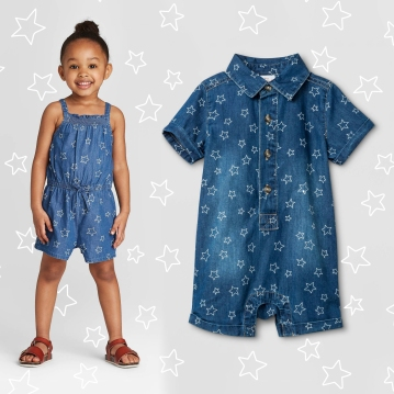 Star Denim Rompers - Cat & Jack
