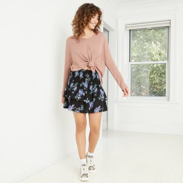 Women's Smocked Ruffle Mini Skirt - Wild Fable